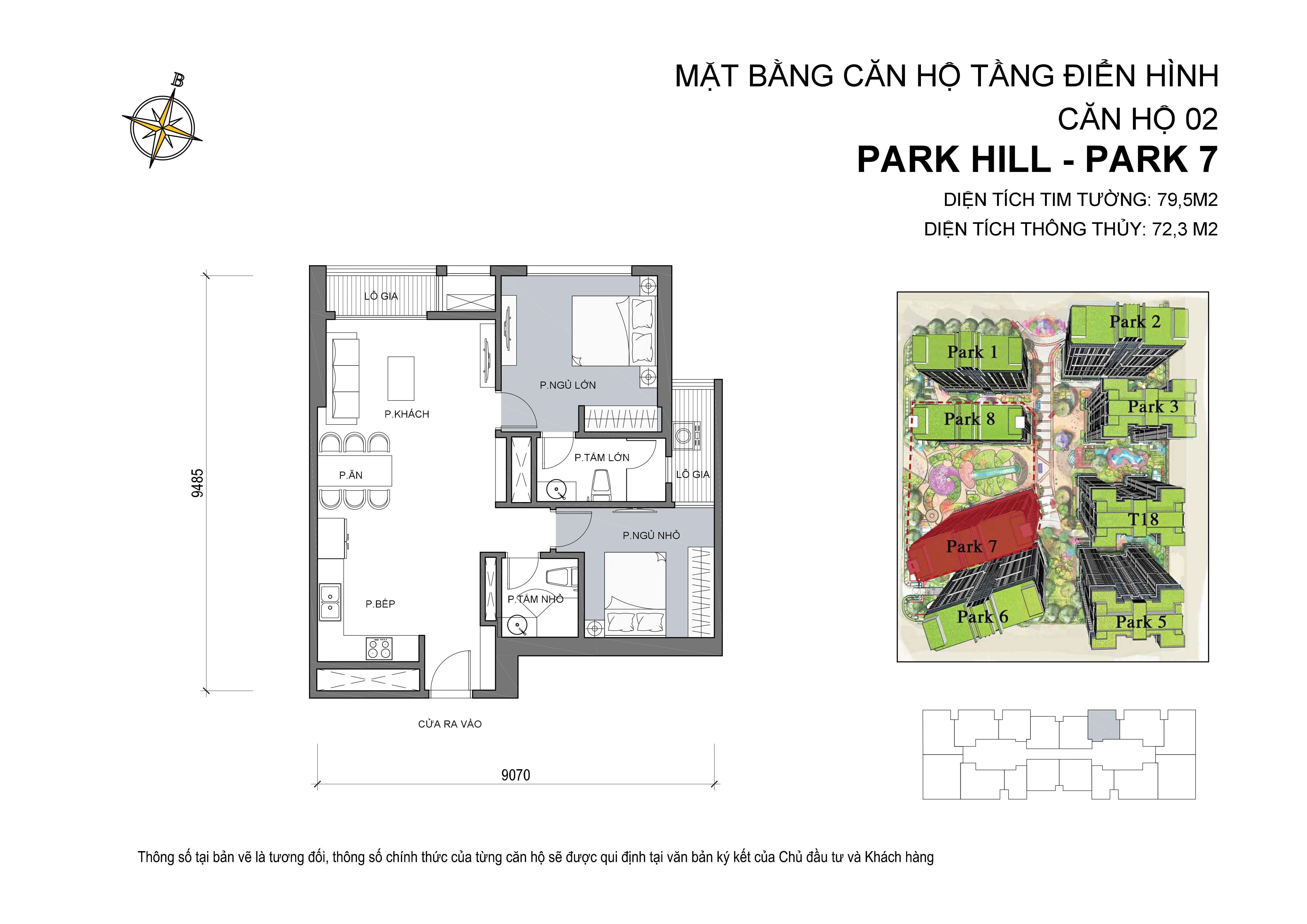 căn hộ Park hill 2PN số 02 diện tích 79 m2