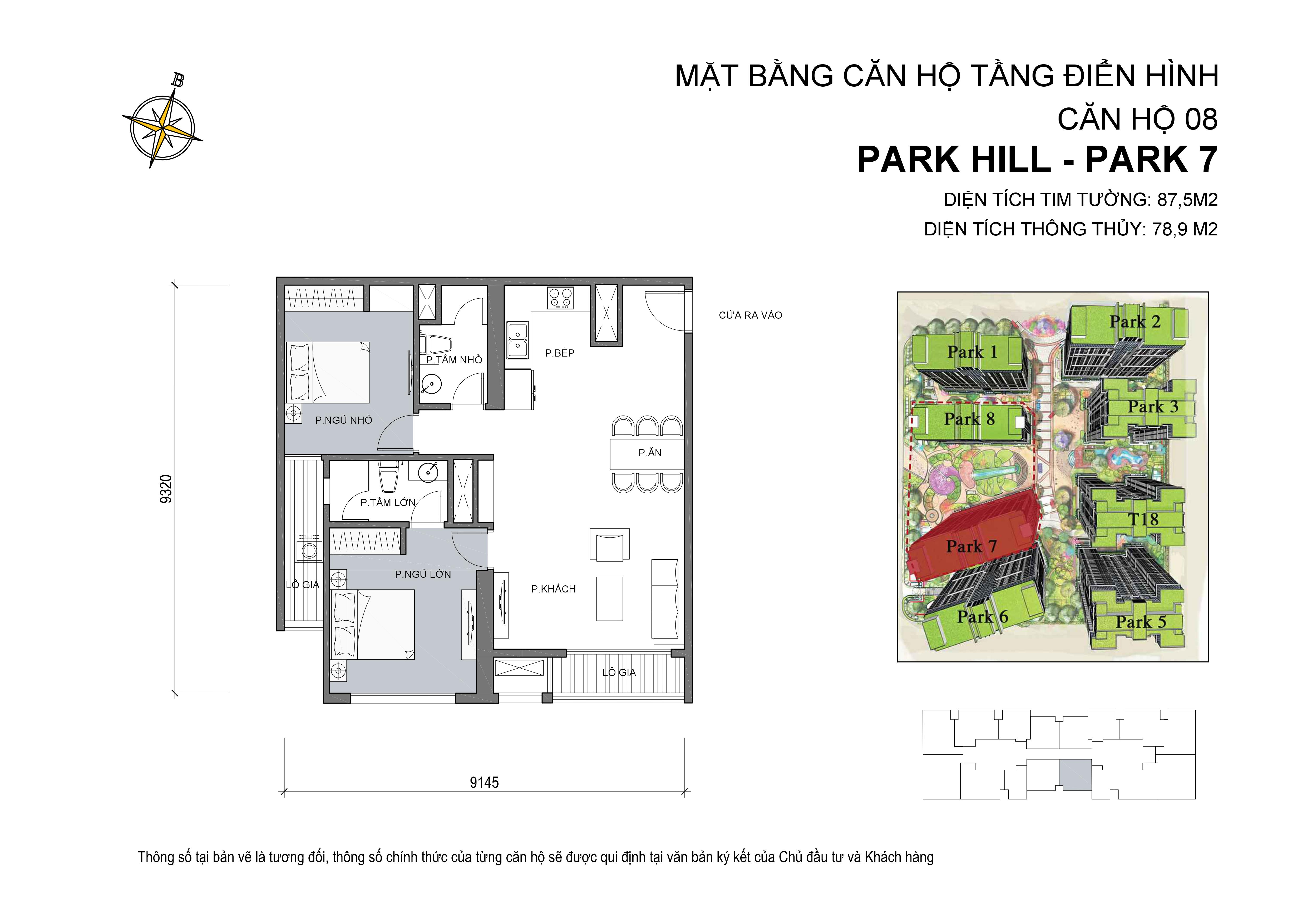 căn hộ Park hill 2PN số 08 diện tích 87 m2