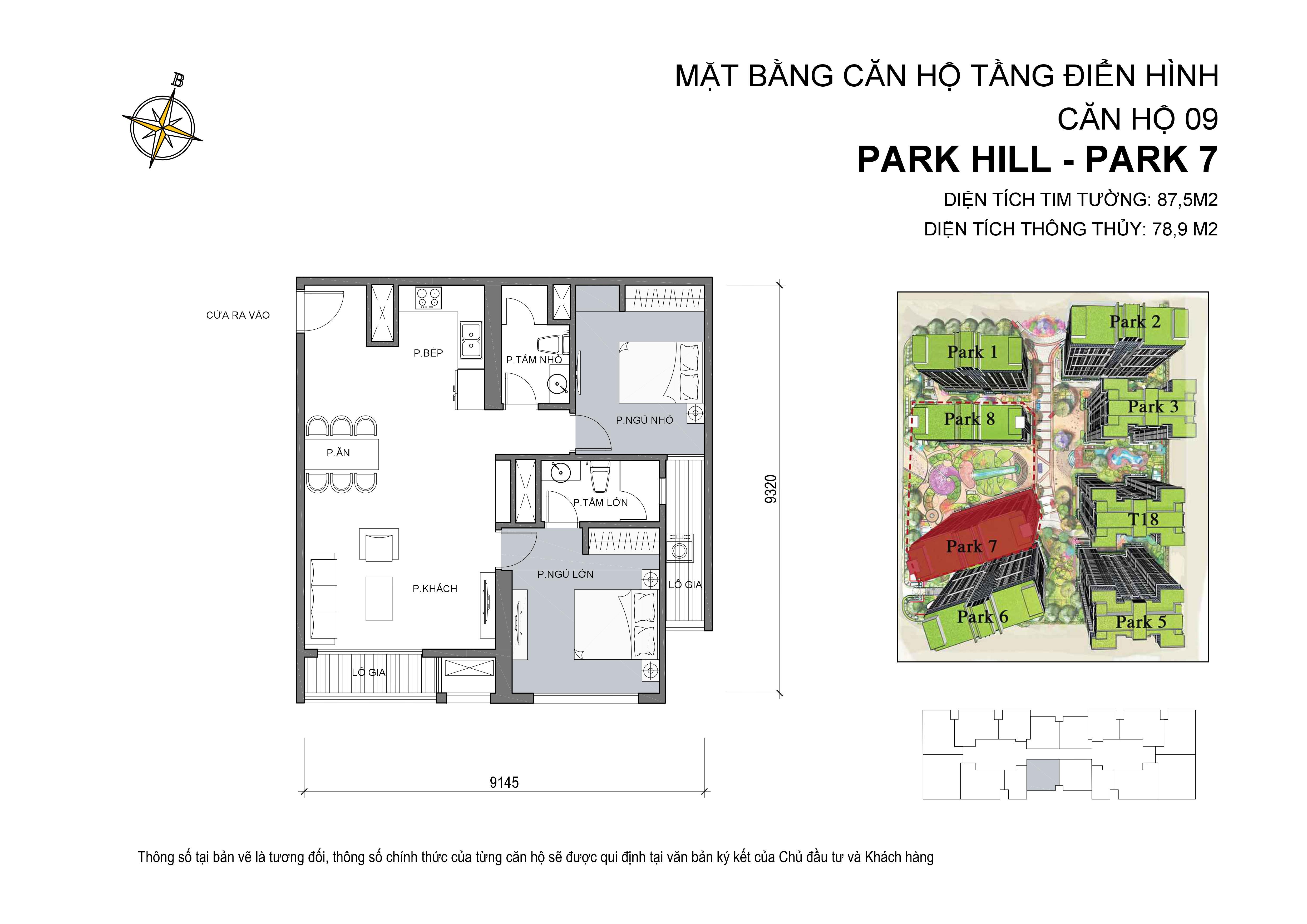căn hộ Park hill 2PN số 09 diện tích 87 m2