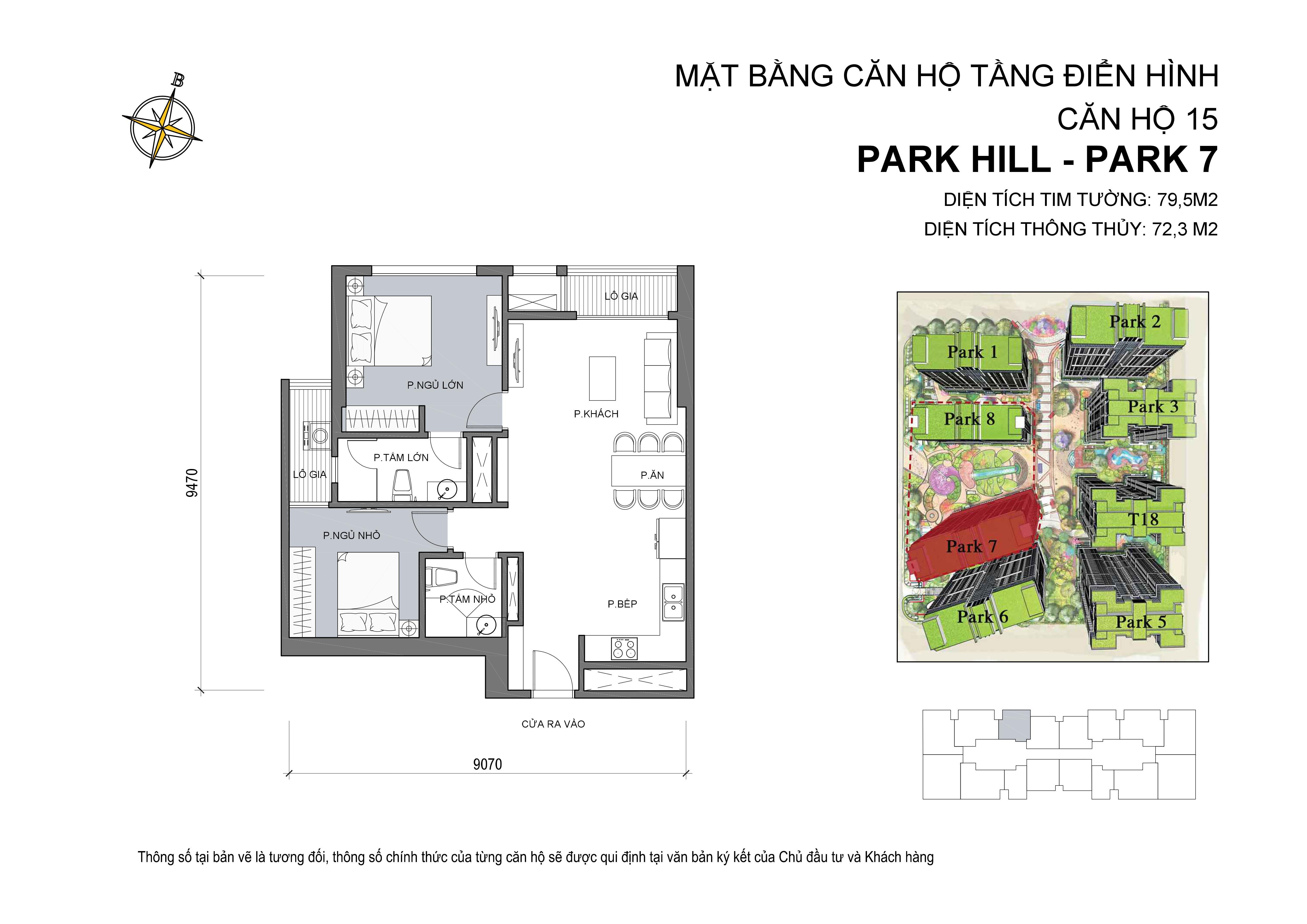 căn hộ Park hill 2PN số 15 diện tích 79 m2