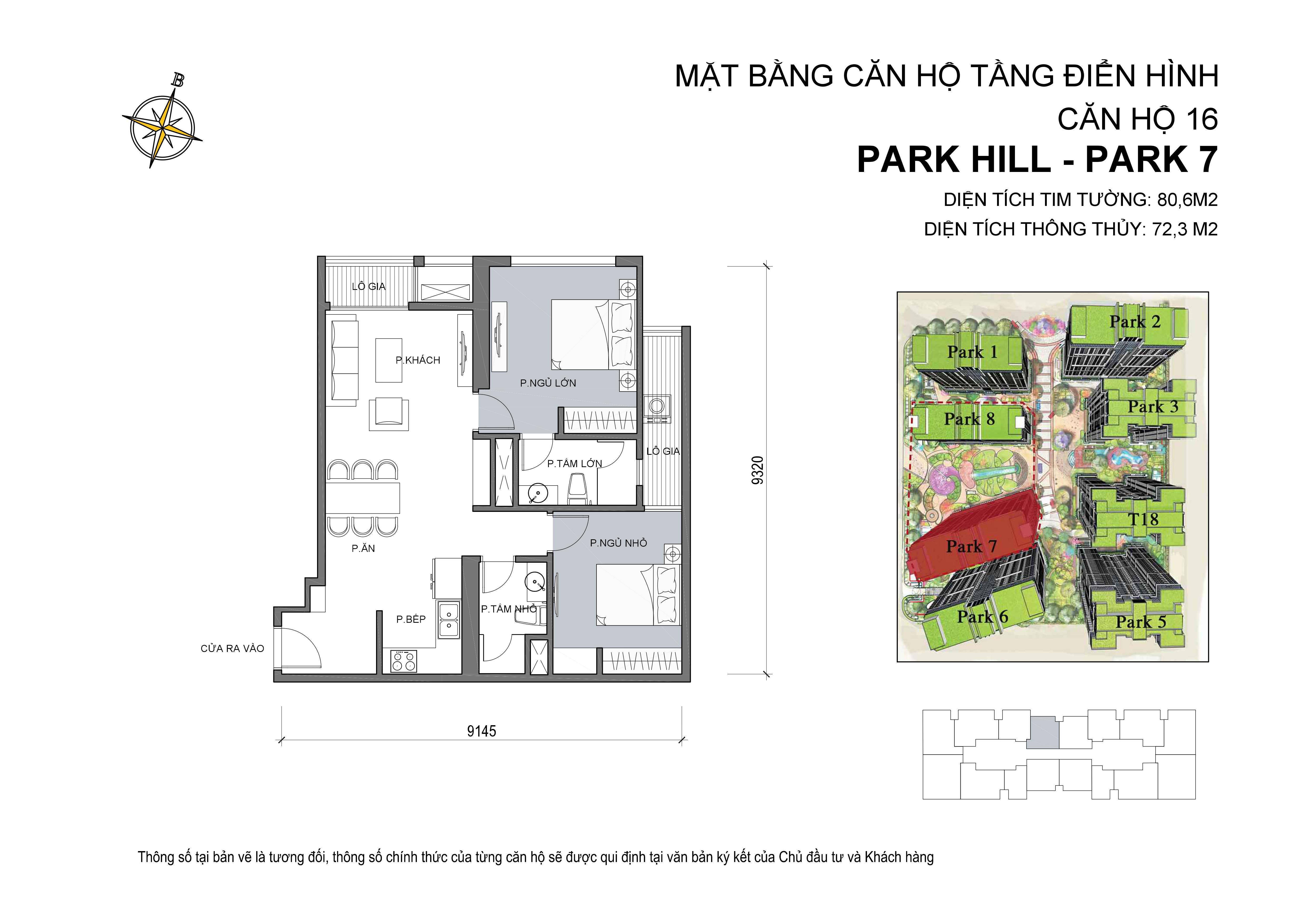 căn hộ Park hill 2PN số 16 diện tích 80 m2