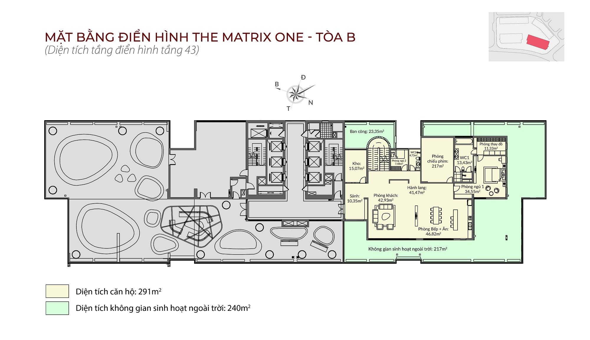 Penthouse tòa B The Matrix One - Mặt bằng