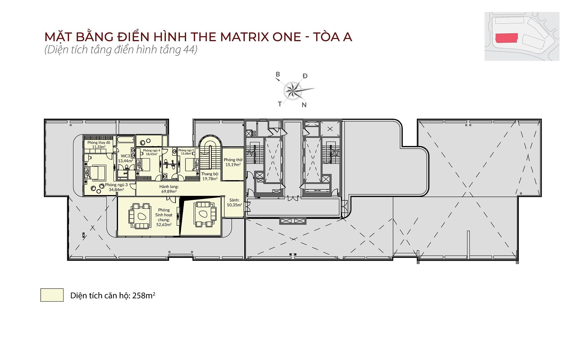 Penthouse tòa A The Matrix One - Mặt bằng
