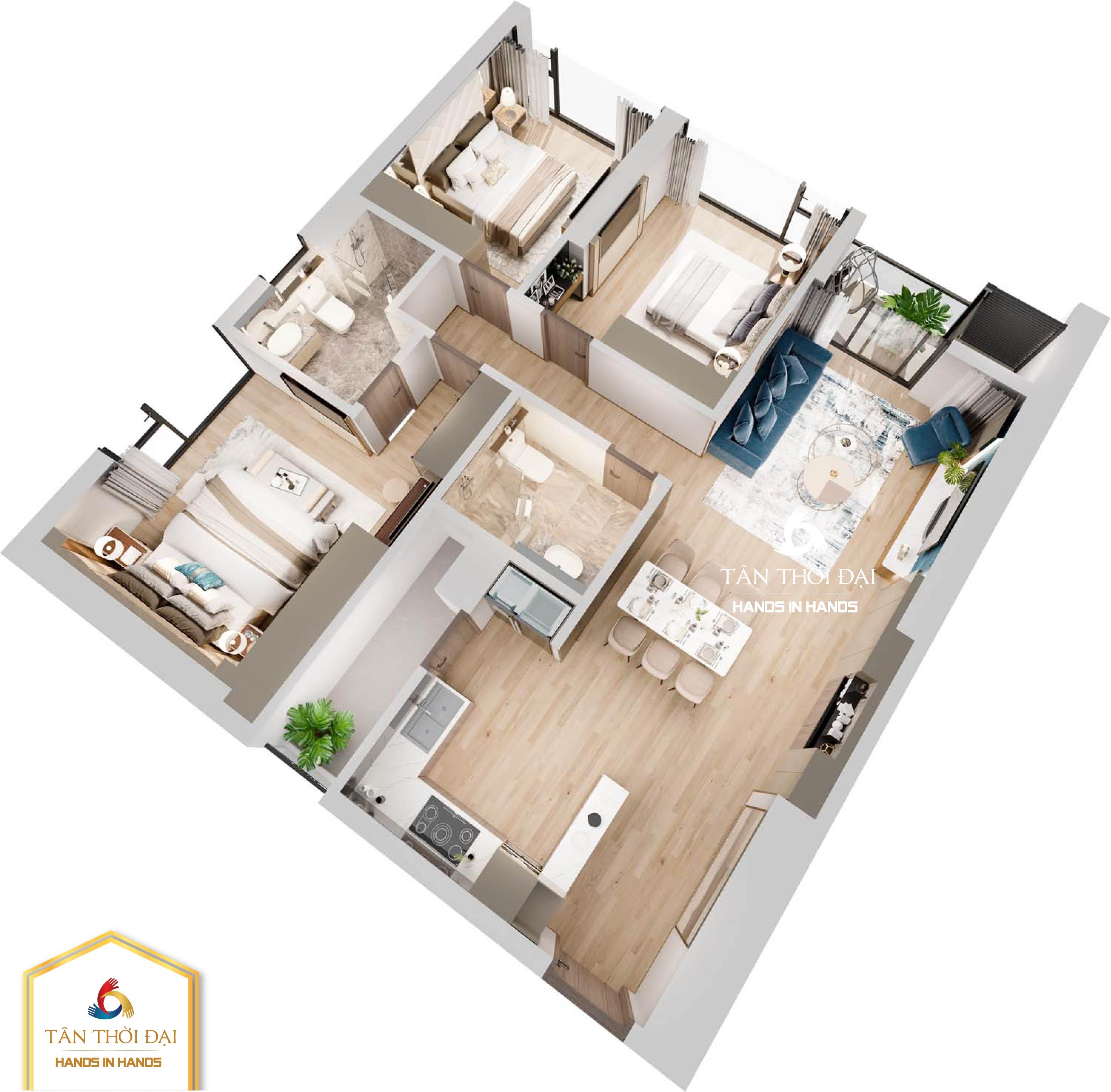 Phối cảnh căn hộ 3 ngủ (3PN ) điển hình số 1 , số 6 tòa B The Matrix One