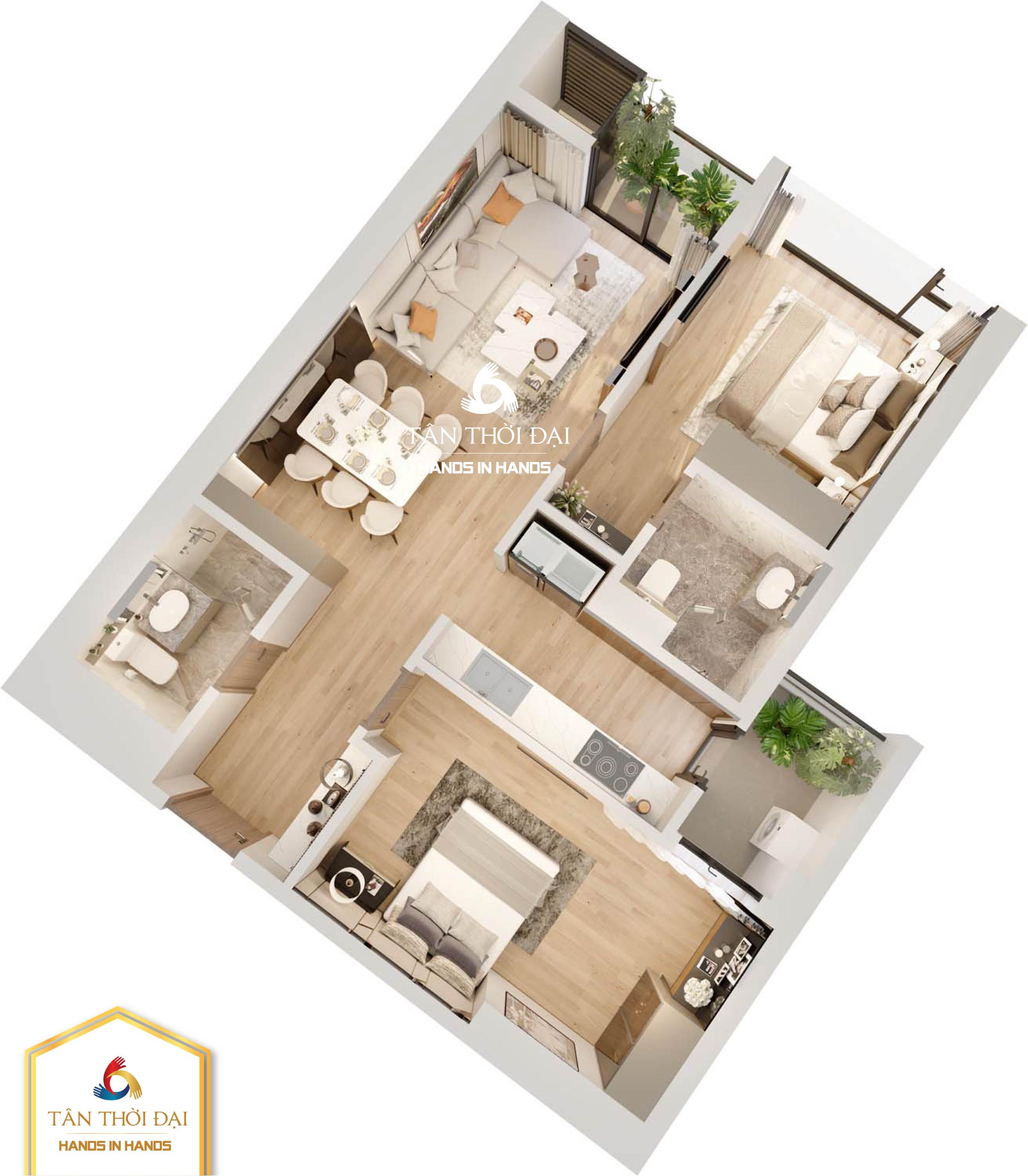 Thiết kế căn hộ 2 ngủ B02, B03, B04, B05 ( căn 2PN - 2 phòng ngủ )