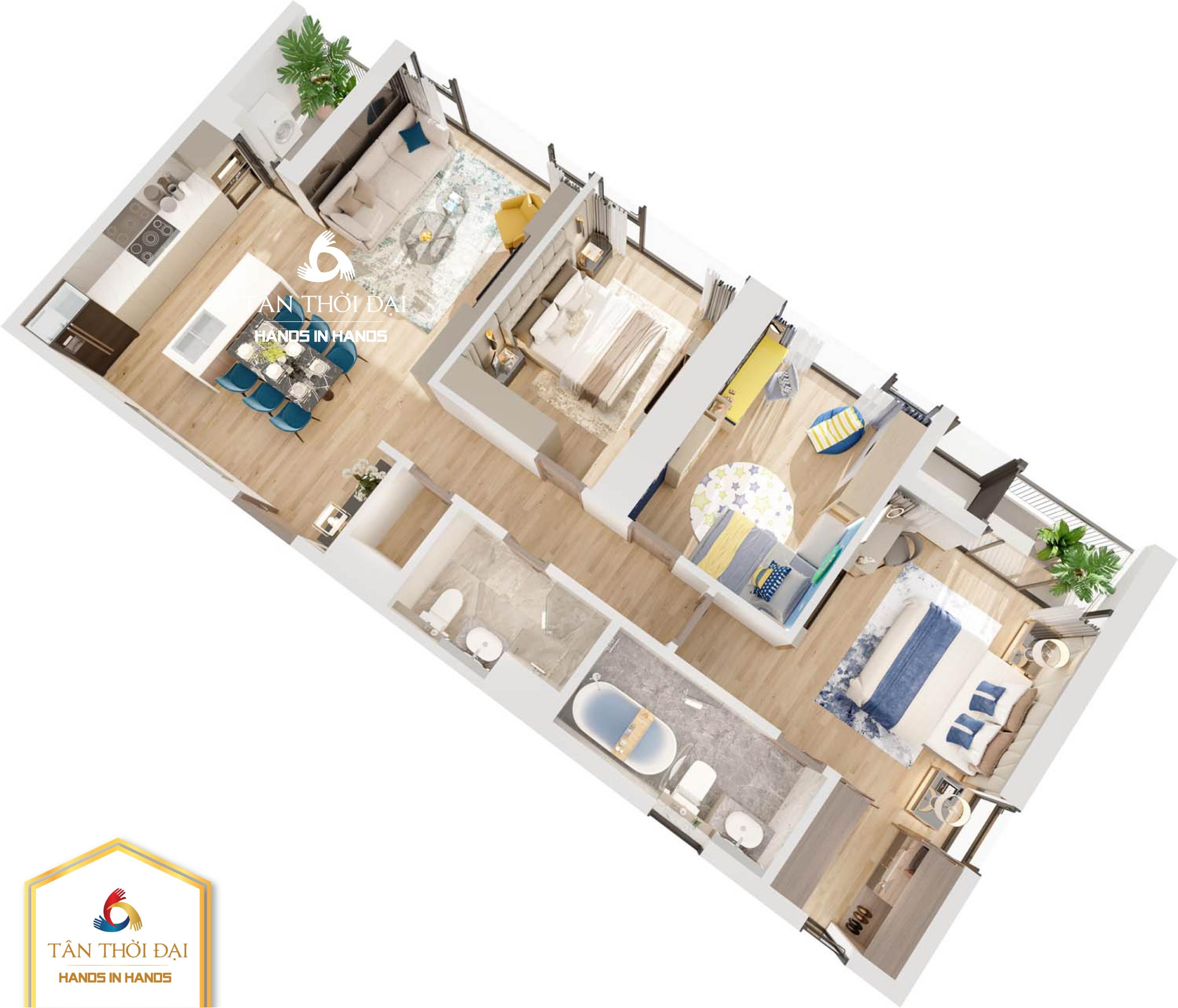 Chi tiết thiết kế căn hộ 3 ngủ ( 3PN ) B07, B10 The Matrix One