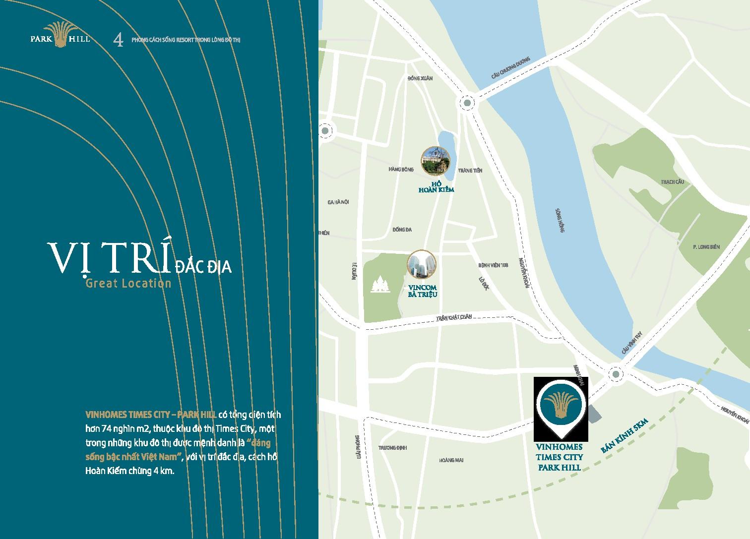 Vị trí dự án Vinhomes Times City – Park Hill