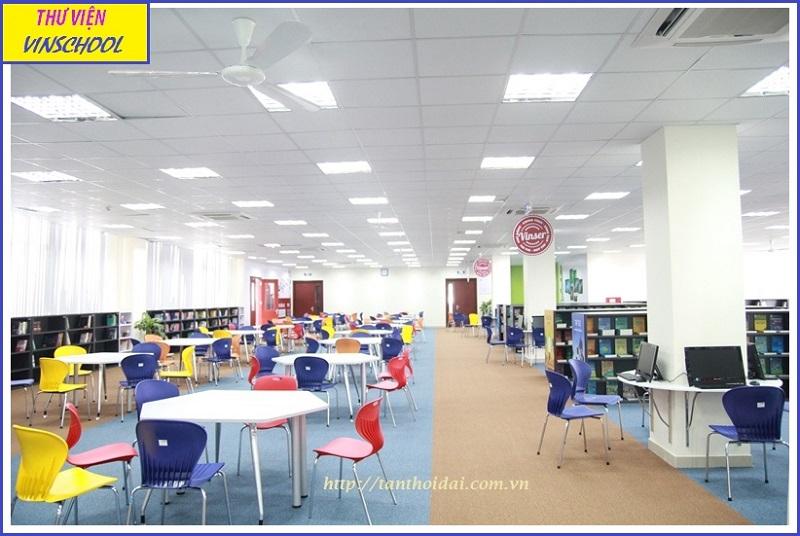 Thư viện trường Vinschool rộng lớn với hơn 10000 đầu sách chất lượng