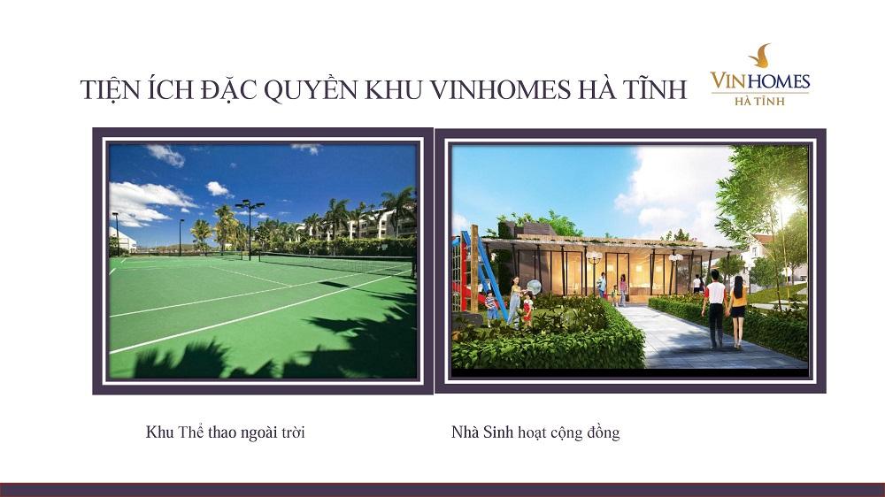 Khu thể thao ngoài trời và khu sinh hoạt cộng đồng dành riêng cho cư dân sinh sống tại Vinhomes Hà Tĩnh