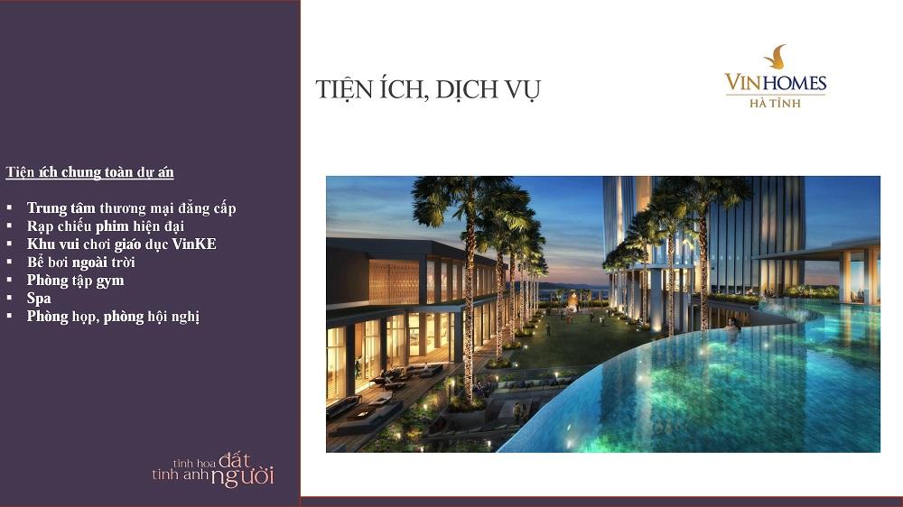 Dự án Vincom Hà Tĩnh mang tới nhiều tiện ích cao cấp